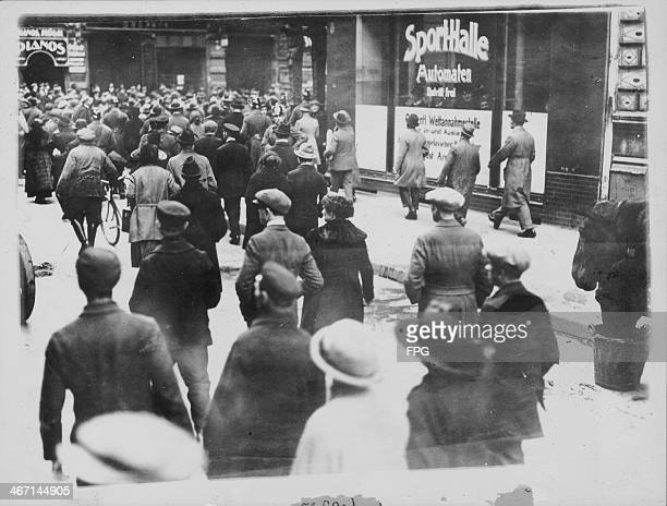Civilians looting Jewish businesses and rioting in the street as antisemetic feelings increase in Berlin Germany circa 19321938