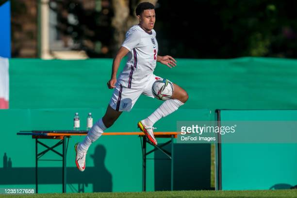 Cj Egan-Riley of England controls the Ball during the international friendly match between Germany U19 and England U19 at Salinenstadion on September...