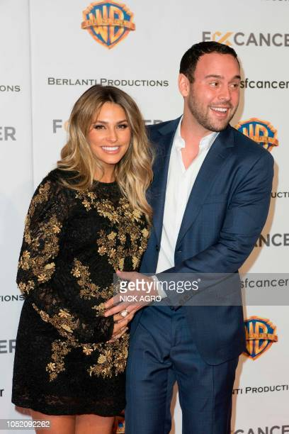 F*ck Cancer founder Yael Cohen Braun and Scooter Braun arrive for the F*ck Cancer Gala at Warner Bros Studio in Burbank California on October 13 2018