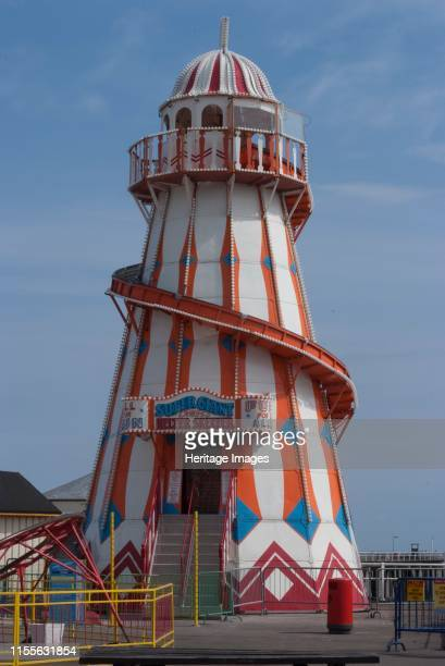 ClactononSea Essex England UK 26/5/10 Helter Skelter traditional ride at the amusement pier and area of Clactonon Sea on the River Thames Thames...