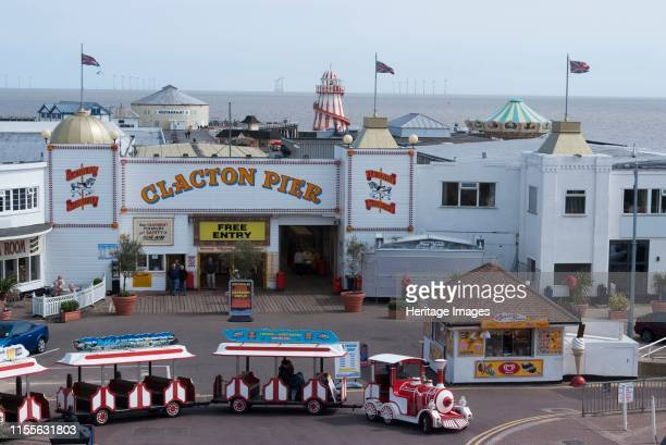 ClactononSea Essex England UK 26/5/10 Overview of the amusement pier and area of ClactononSea with a Noddy train in the foreground on the River...