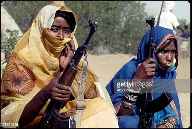 Clad in a traditional abaya these Moslem fighters of the Eritrean People's Liberation Front are considered equal among their male colleagues in the...