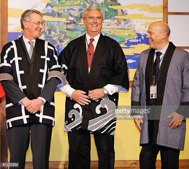 Clad in Japanese traditional happi coats British State Secretary for Environment Food and Rural Affairs Hilary Benn US Administrator of Environmental...
