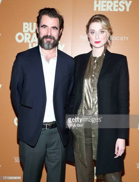 """Claes Bang and Elizabeth Debicki attend Sony Pictures Classics and The Cinema Society Special Screening of """"The Burnt Orange Heresy"""" at The Roxy..."""