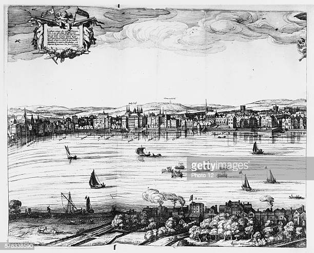 Claes Jansz Visscher Dutch school. View of the Thames, the Somerset House and the Swan theatre on the opposite riverbank. Detail from Londinum...