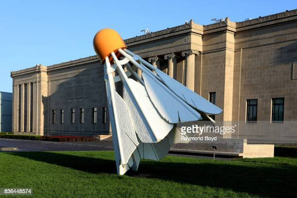 Claes Oldenburg and Coosje van Bruggen's 'Shuttlecocks' sculpture sits outside the NelsonAtkins Museum Of Art in Kansas City Missouri on August 12...