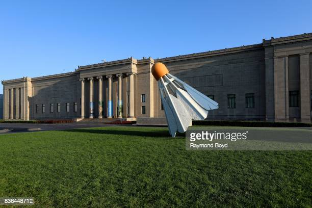 Claes Oldenburg and Coosje van Bruggen's 'Shuttlecocks' sculpture sits outside the Nelson-Atkins Museum Of Art in Kansas City, Missouri on August 12,...