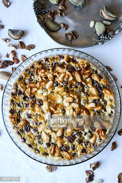 Clafoutis cake with grapes and almonds.