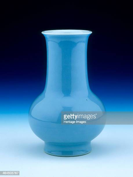 Clair de lune monochrome vase Qing dynasty China 19th century A bulbous porcelain vase with fat slightly flared neck covered with a pale blue...