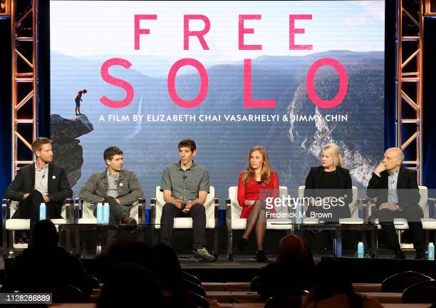 Clair Popkin Mikey Schaefer Alex Honnold Sanni McCandless Shannon Dill and Bob Eisenhardt of the film 'Free Solo' speak during the National...