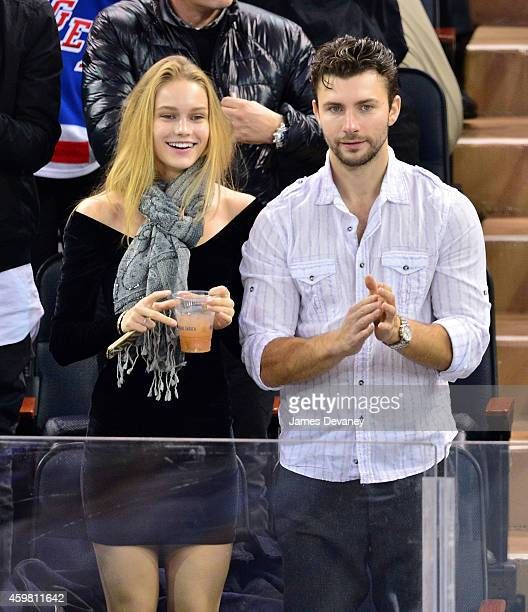 Clair Westenberg and guest attend Tampa Bay Lighting vs New York Rangers game at Madison Square Garden on December 1 2014 in New York City