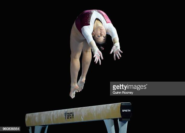 Claira LeeJoe of Queensland competes on the Beam during the 2018 Australian Gymnastics Championships at Hisense Arena on May 21 2018 in Melbourne...
