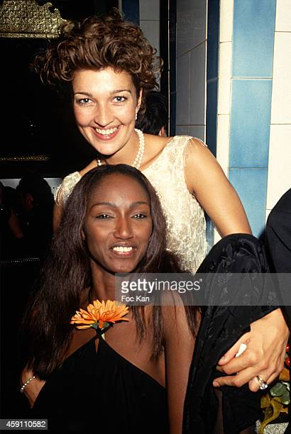 Claire Atkinson and Katoucha Niane attend a fashion week Party at Les Bains Douches in the 1990s in Paris France