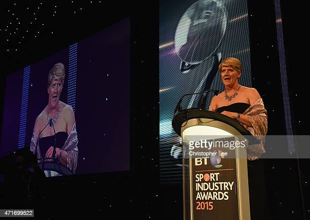 Claire Balding presents the Outstanding Contribution to Sport sponsored by CWM Cyclong Promotions at the BT Sport Industry Awards 2015 at Battersea...