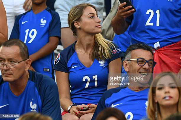 Claire Beaudouin wife of France's defender Laurent Koscielny attends the Euro 2016 semifinal football match between Germany and France at the Stade...
