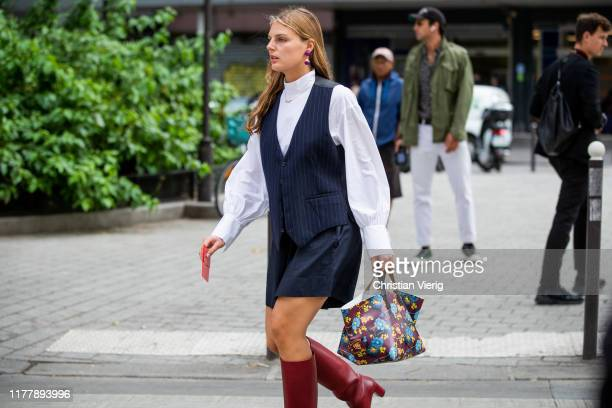 Claire Beermann is seen wearing vest outside Issey Miyake during Paris Fashion Week Womenswear Spring Summer 2020 on September 27 2019 in Paris France