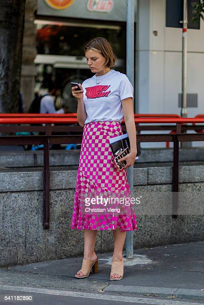 Claire Beermann outside Jil Sander during the Milan Men's Fashion Week Spring/Summer 2017 on June 18 2016 in Milan Italy