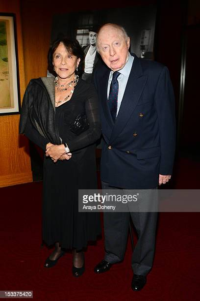 Claire Bloom and Norman Lloyd attend the Academy of Motion Picture Arts and Sciences presentation of the 60th anniversary of Chaplin's 'Limelight' at...