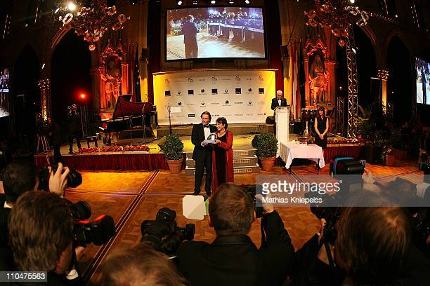 Claire Bloom present her trophy at the 2nd Orange Filmball Vienna at the Townhall on March 18 2011 in Vienna Austria