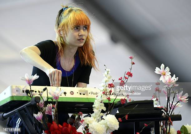 Claire Boucher aka Grimes performs as part of the 2013 Coachella Valley Music Arts Festival at the Empire Polo Field on April 21 2013 in Indio...