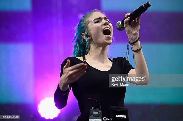 Claire Boucher of Grimes performs onstage at the 2014 Budweiser Made In America Festival at Benjamin Franklin Parkway on August 30 2014 in...