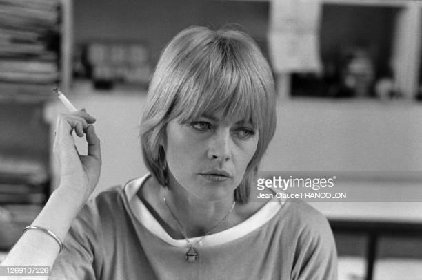 Claire Bretécher à Paris, France, en avril 1977.