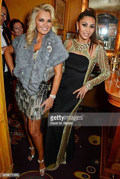 Claire Caudwell and Mahsa Nejati attend a private dinner hosted by Fawaz Gruosi founder of de Grisogono at Annabels on April 28 2016 in London England