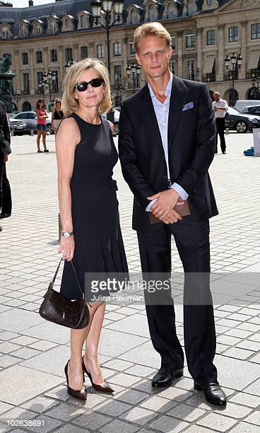 Claire Chazal and Arnaud Lemaire arrive at the Giorgio Armani Prive show as part of the Paris Haute Couture Fashion Week Fall/Winter 2011 Espace...