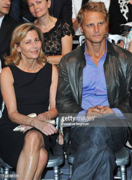 Claire Chazal and Arnaud Lemaire attend the Christian Dior Haute Couture Fall/Winter 2011/2012 show as part of Paris Fashion Week at Musee Rodin on...