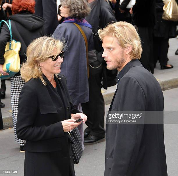 Claire Chazal and Arnaud Lemaire attend Yves Saint Laurent's Funeral Service on June 5, 2008 at Eglise Saint-Roch in Paris, France. The designer Yves...