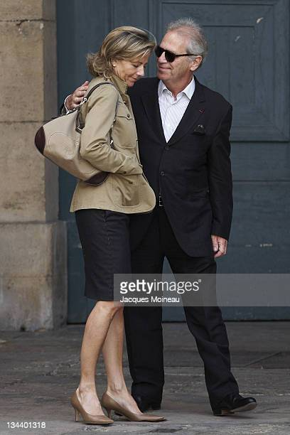 Claire Chazal and guest during JeanPierre Cassel Funeral at St Eustache Church of Paris in Paris France