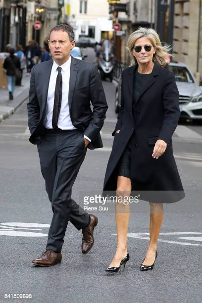 Claire Chazal and Marc Olivier Fogiel attend Mireille Darc's Funerals at Eglise SaintSulpice on September 1 2017 in Paris France