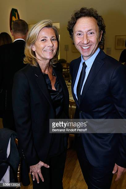 Claire Chazal and Stephane Bern attend the Societe des Amis du Musee d'Art Moderne du Centre Pompidou Dinner Party Held at Centre Pompidou on April...