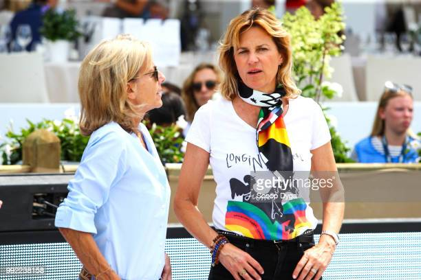 Claire Chazal and Virginie Couperie Eiffel during the Prix Renault ZE at Champ de Mars on July 5 2018 in Paris France