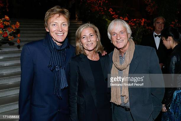 Claire Chazal standing between Patrick Loiseau and singer Dave attend Gala of AROP at Opera Garnier with representation of 'La Sylphide' on June 24...