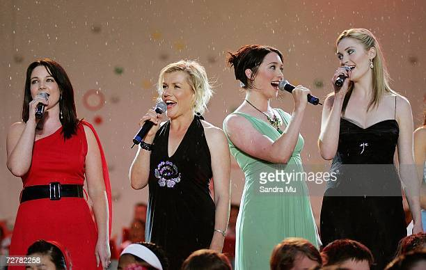 Claire Chitham Robyn Malcolm Antonia Prebble and Siobhan Marshall of the TV programme 'Outrageous Fortune' sing 'Living on a Prayer' during Christmas...