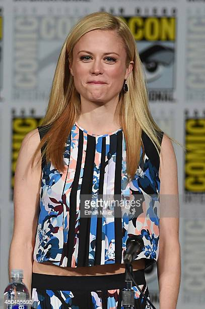 Claire Coffee attends the 'Grimm' season five panel during ComicCon International 2015 at the San Diego Convention Center on July 11 2015 in San...