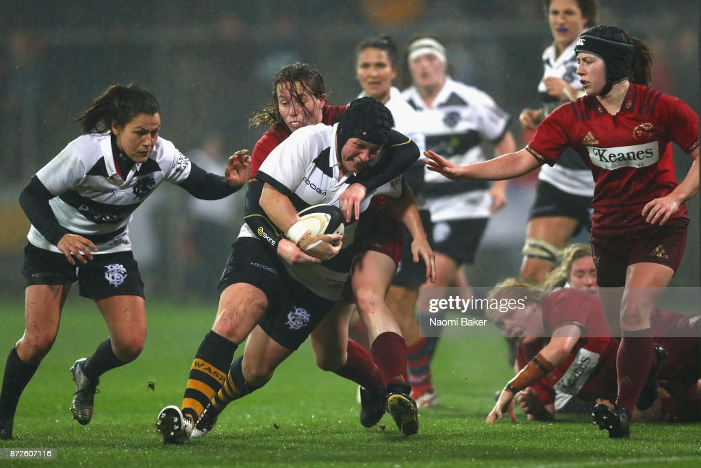 Claire Cripps of the Women's Barbarians is tackled during the Inaugural Representative Match between Barbarians Women's RFC and Munster Women, on November 10, 2017 in Limerick, Ireland.
