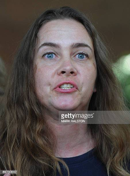 Claire Cruise speaks to the media after she filed three guardianship petitions claiming she is the biological mother of musical legend Michael...