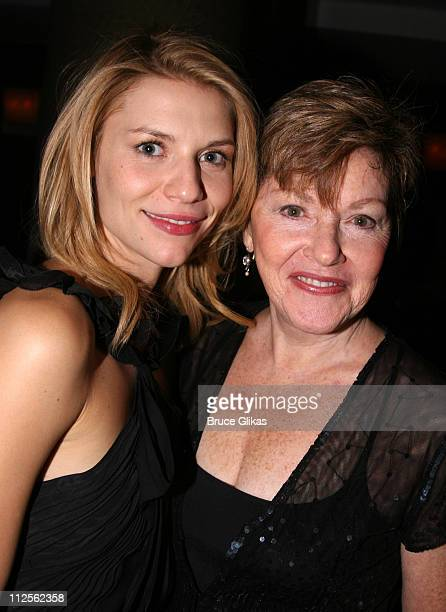 """Claire Danes and costar Helen Carey pose at The Opening Night Party for The Revival of """"Pygmalion"""" on Broadway at The Marriott Marquis on October 18,..."""