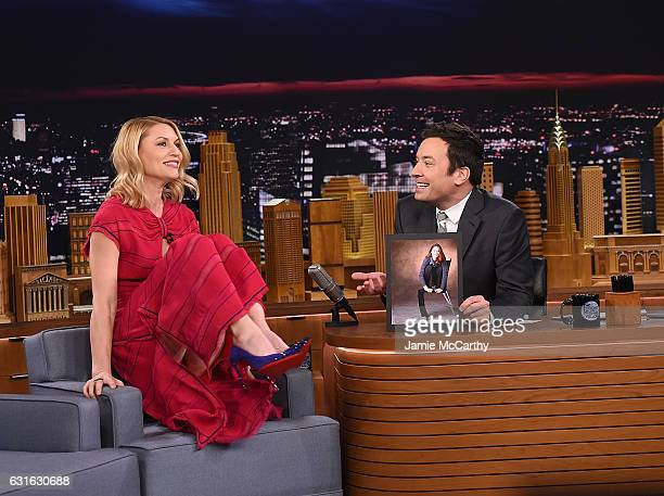 Claire Danes and host Jimmy Fallon during an interview segment on 'The Tonight Show Starring Jimmy Fallon' at Rockefeller Center on January 13 2017...