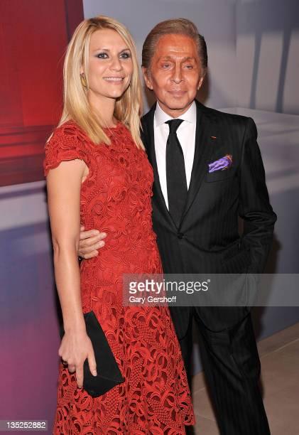 Claire Danes and Valentino Garavani attend the Valentino Garavani Virtual Museum Launch party at the IAC Headquarters on December 7 2011 in New York...