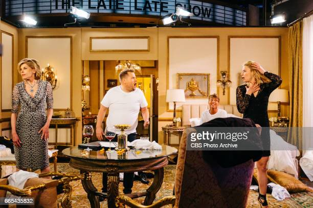 Claire Danes Christine Baranski and Jack McBrayer perform The Bold and The Lyrical with James Corden during The Late Late Show with James Corden...