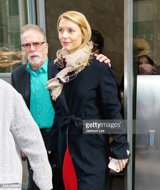 Claire Danes departs Sirius studios after announcing on Stern show that she is pregnant on April 18 2018 in New York City