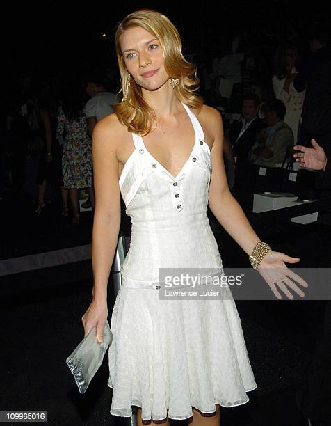 Claire Danes during Olympus Fashion Week Spring 2005 Zac Posen Front Row at Theater Tent Bryant Park in New York City New York United States