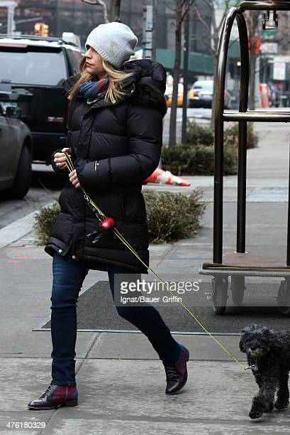 Claire Danes is seen walking her dog on March 02 2014 in New York City