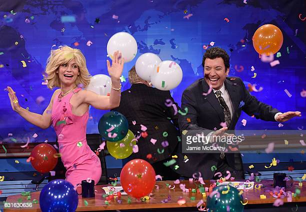 Claire Danes JK Simmons and host Jimmy Fallon during the News team that jokes alot segment on The Tonight Show Starring Jimmy Fallon at Rockefeller...