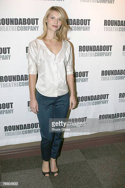 """Claire Danes poses at the meet and greet for the Broadway revival of """"Pygmalion"""" by George Bernard Shaw at the American Airlnes Theater penthouse on..."""