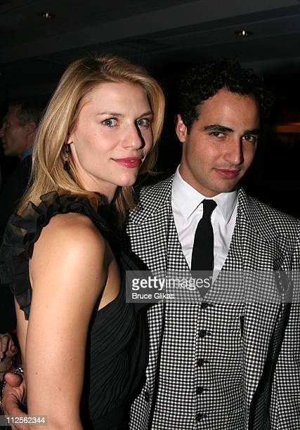 """Claire Danes poses with designer Zac Posen at the Opening Night Party for The Revival of """"Pygmalion"""" on Broadway at The Marriott Marquis on October..."""