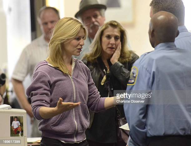 Claire Danes rehearses a scene as Showtime brings the production of Homeland to the newsroom floor of the Charlotte Observer May 28 2013 in Charlotte...